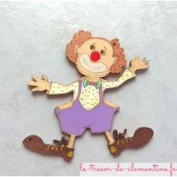 Clown en bois peint à la main