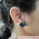 Boucle d'oreille fantaisie forme coquille saint jacques turquoise et pailleté pour oreilles percées