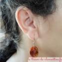 Boucle d'oreille ovale spirale orangé