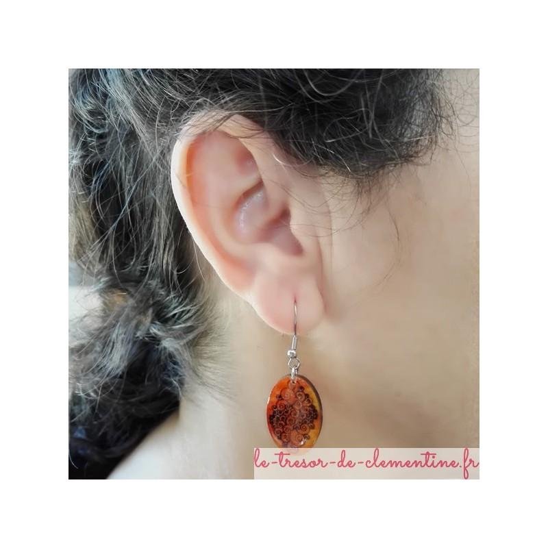 Boucle d'oreille ovale spirale orangé/feu réalisable pour oreille non percée (clip) bijou artisanal