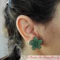 Boucle d'oreille fantaisie moyenne fleur verte peut être réalisée pour oreille non percée bijou artisnal