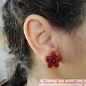 Boucle d'oreille petite fleur rose