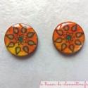 Boucle d'oreille artisanale soleil fleur orangé, oreille percée (clou) ou non percée (clip) au choix