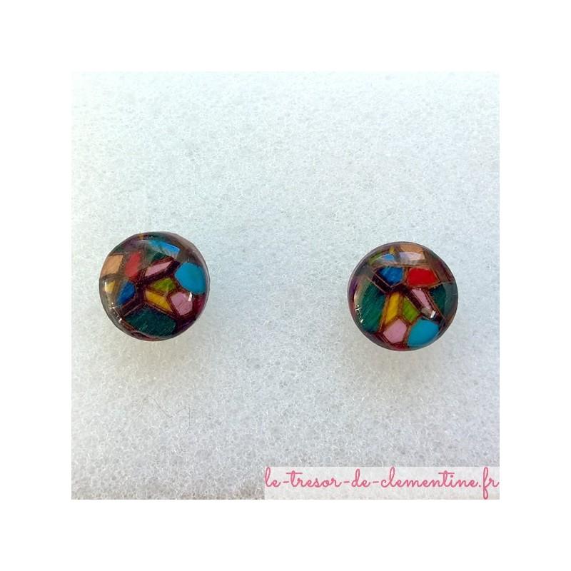 Boucle d'oreille artisanale Puce d'oreille vitrail, bijou de création artisanale de fabrication française