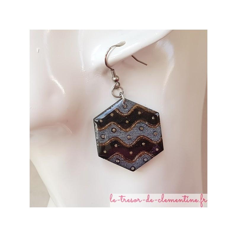 Boucle d'oreille fantaisie noir et argent hexagonale autre monture possible