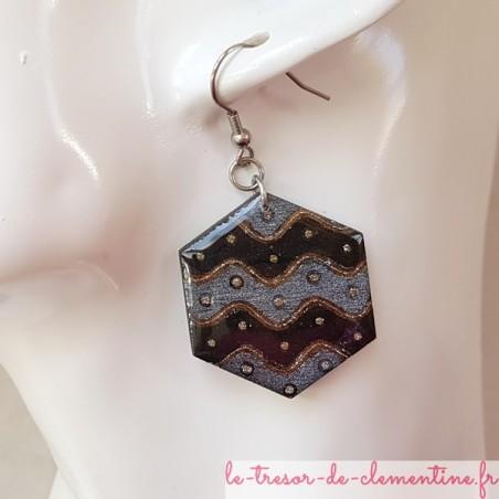Boucle d'oreille fantaisie noir et argent vague hexagonale