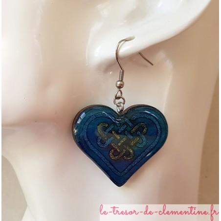 Boucle d'oreille coeur celtique bleu fantaisie