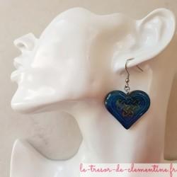 Boucle d'oreille coeur celtique rose bijou fantaisie léger et confortable à porter