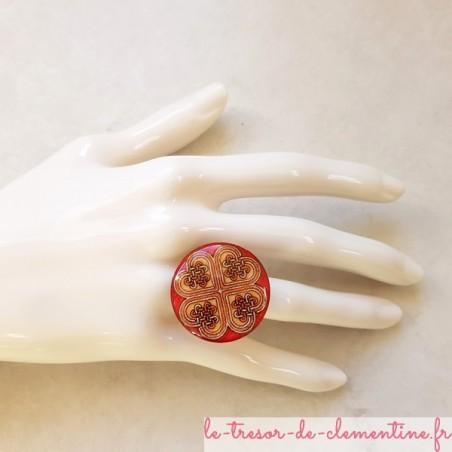 Bague originale coeur celtique rose