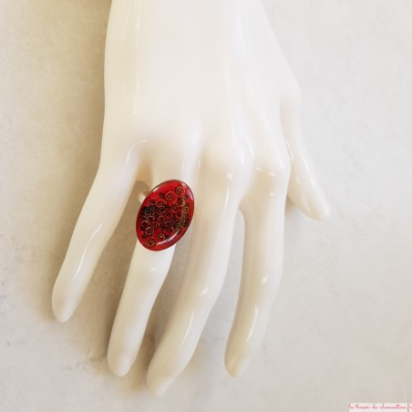 Bague originale ovale rose spirale baroque