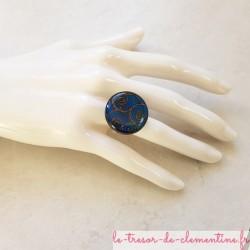 Bague originale spirale bleue, bijou originale baroque de créateur, autres coloris disponibles et  sur demande