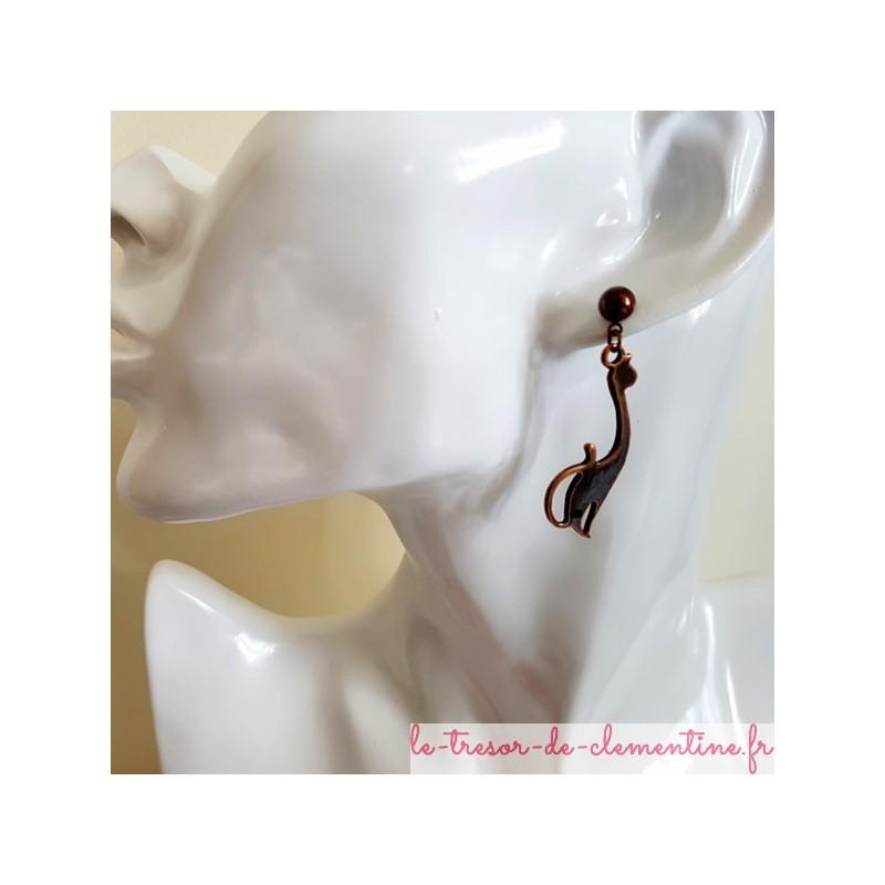 Boucle d'oreille fantaisie chat cuivre rouge autres thèmes et modèle sur dende