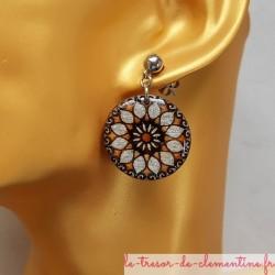 Boucle d'oreille artisanale rosace soleil argent monture inoxydable modifiable sur demande