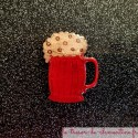 Broche fantaisie chope de biere, bijou fantaisie artisanat français