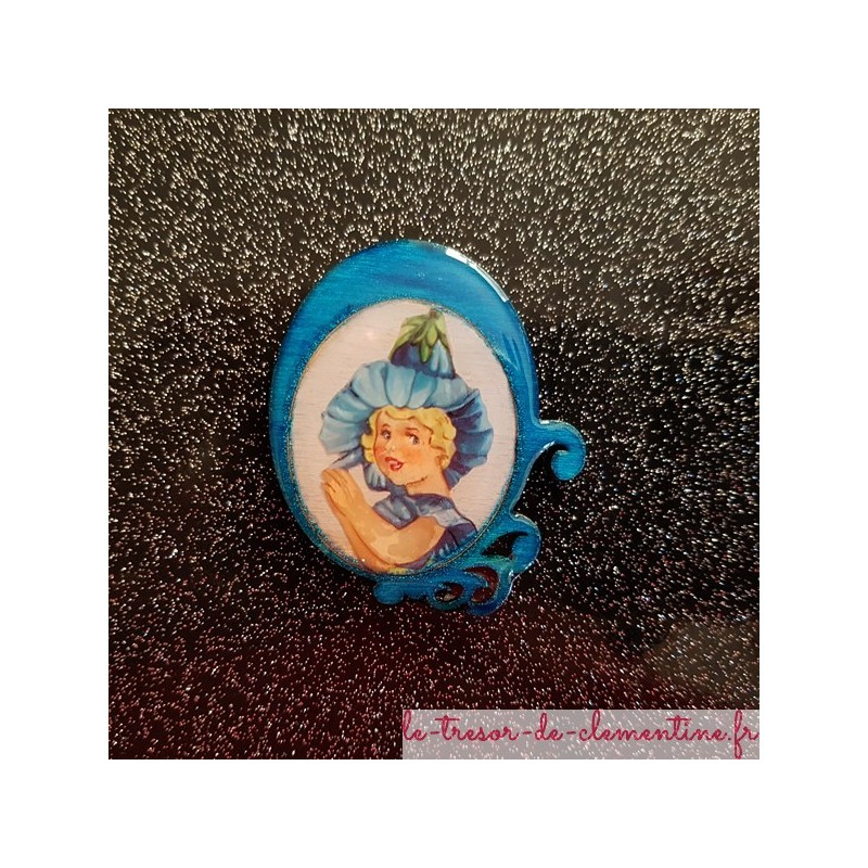 Broche artisanale romantique femme fleur turquoise fabrication française bijou artisanal
