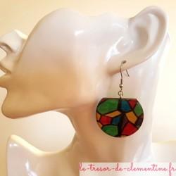 Boucle d'oreille artisanale vitrail médiéval