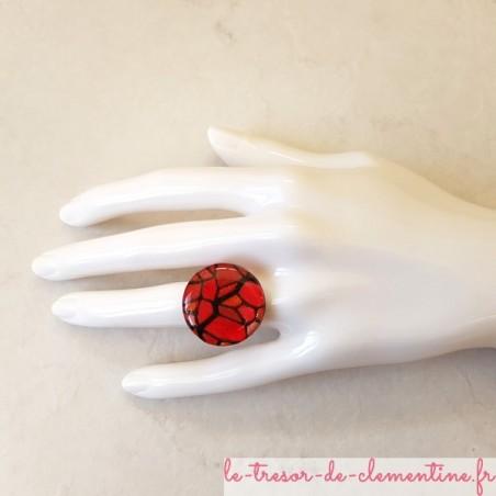 Bague artisanale vitrail rouge médiéval