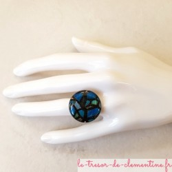 Bague fantaisie vitrail bleu médiéval, bijou fantaisie de création française