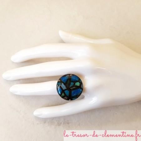 Bague fantaisie vitrail bleu médiéval