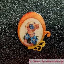 Broche originale romantique femme fleur orange, bijou original de création française