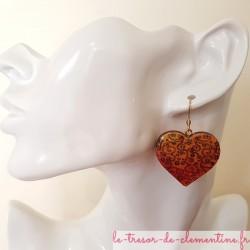 Boucle d'oreille fantaisie coeur baroque, modèle unique bijou fantaisie de créateur