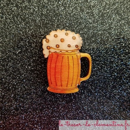 Broche artisanale chope de biere orange