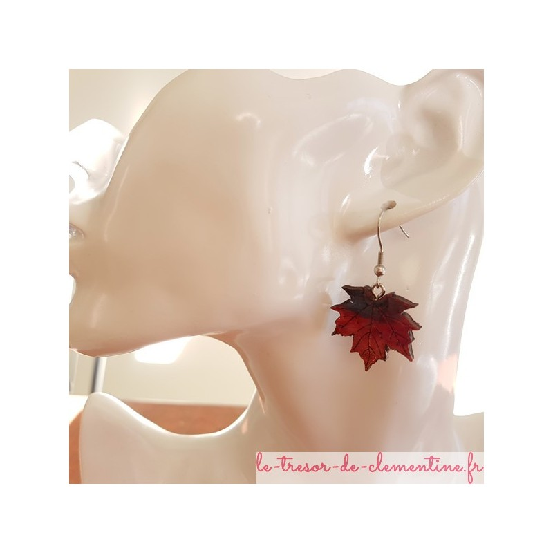 Boucle d'oreille  feuille d'érable rouge 2 tons, boucle d'oreille feuille bijou d'oreille