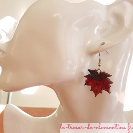 Boucle d'oreille  feuille d'érable rouge 2 tons