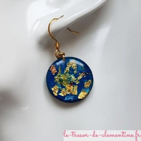 Boucle d4oreille métallisé or et turquoise
