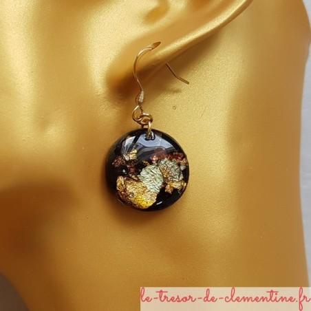 boucles oreilles pendantes métallisé or et noir