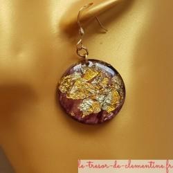 boucle d oreilles pendantes feuilles métal marron modèle unique signé au dos