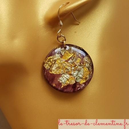 boucle d oreilles pendantes pailleté métal marron