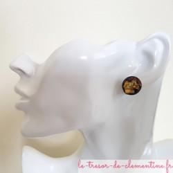 Puce d'oreille fantaisie noir pailleté métal, petite boucle d'oreille fantaisie