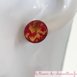 Puce boucle d'oreille fantaisie rose pailleté métal, modèle unique création artisanale