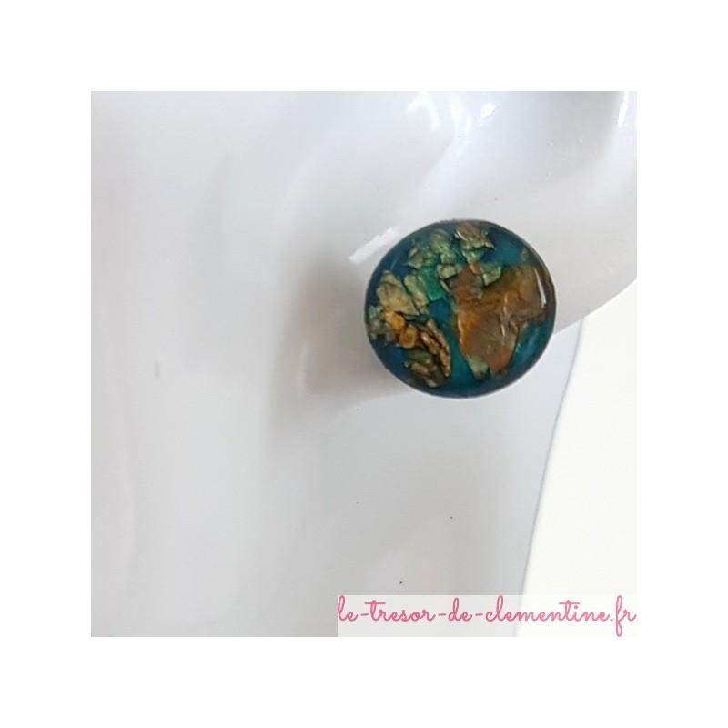 Puce d'oreille argent turquoise pailleté métal, bijou d'oreille très léger