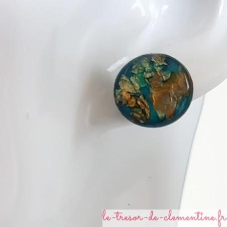 Puce d'oreille argent turquoise pailleté métal