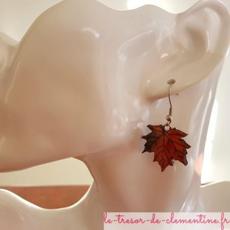 Boucle oreille fantaisie feuille d'érable automne