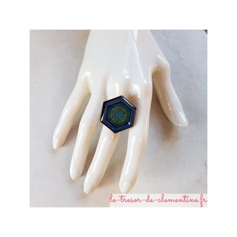 Bague femmes hexagonale bleu à turquoise, bague pour femmes support réglable  (laiton plaqué argent)