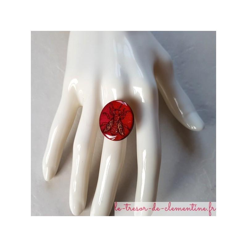 Bague femme abeille rouge, existe en d'autres coloris et bijoux assortis