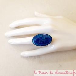 Bague femme originale turquoise ovale, création artisanale française modèle unique