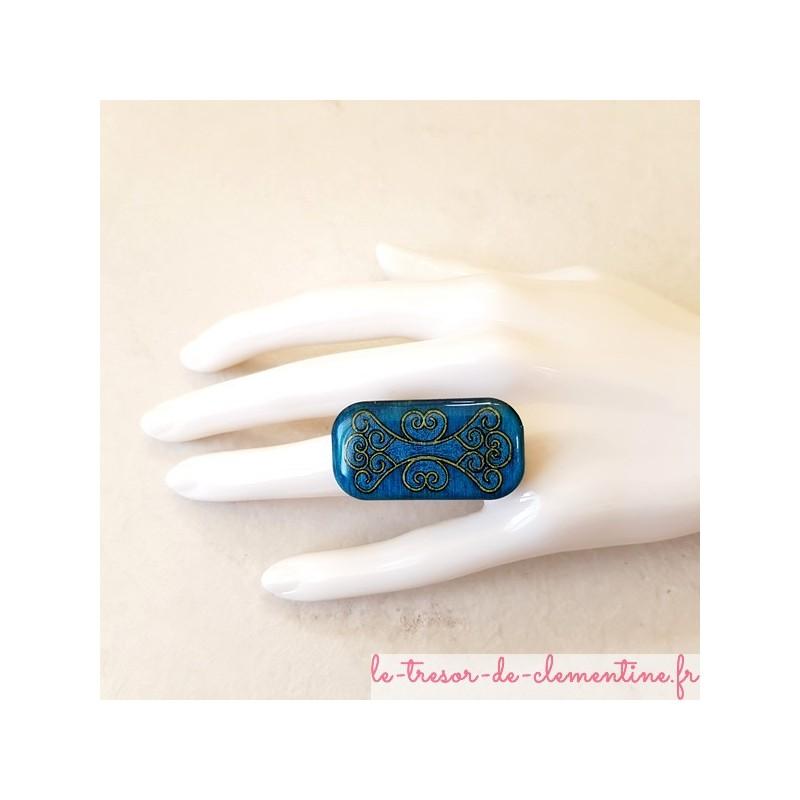 Bague originale baroque turquoise, création artisanale française, décoré à la main