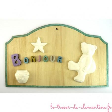 Plaque décorative bonjour petit ours