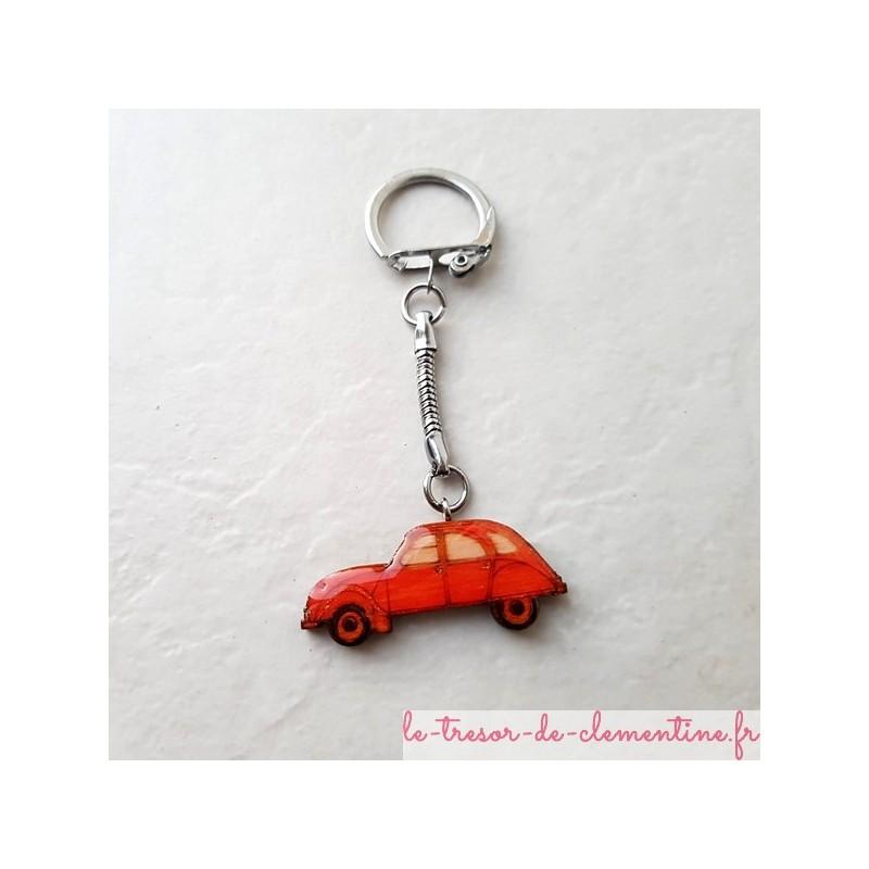 Porte-clef voiture 2 cv orange  fabrication artisanale française, modèle original créé et décoré à la main par Clémentine