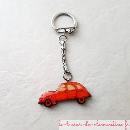 Porte-clef voiture 2 cv orange