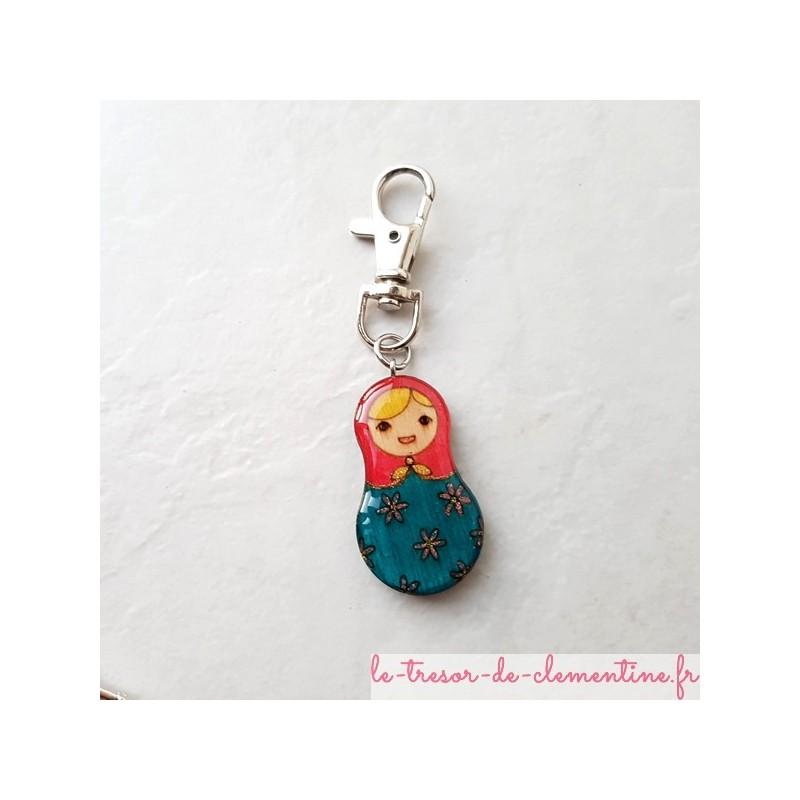 Accroche-sac poupée russe Bijou de créateur, fabrication artisanale française, modèle original