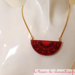 collier femme pendentif baroque rouge, signé au dos, autres couleurs possibles