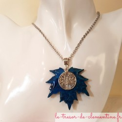 collier femme pendentif feuille d'érable et arbre de vie turquoise, signé, création artisanale françaiise