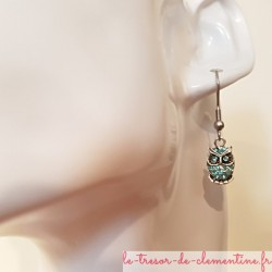 boucle d'oreille pendante strass animaux chouette turquoise