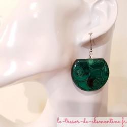 Boucles d'oreilles femme spirales vertes, bijou fantaisie femme, modèle unique