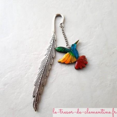 Marque-page Colibri oiseau multicolore
